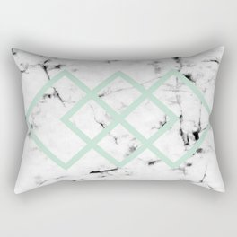 White Marble Concrete Look Mint Green Geometric Squares Rectangular Pillow