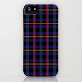 Black, blue and red checker pattern iPhone Case