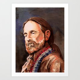 Willie Nelson Acrylic Painting Art Print