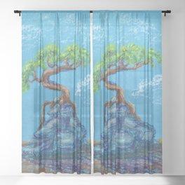 Blue Bonsai Sheer Curtain
