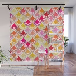 Bohemian Fish-scale Pattern - Hues of Warm Gold and Pink Wall Mural