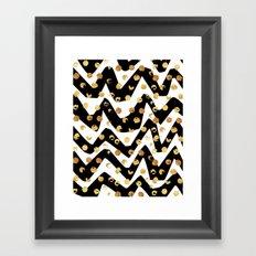 Gold Glory   Gold Foil Pattern, Black White Geometric Pattern, Mosaic Pattern, Gold Seamless Pattern Framed Art Print