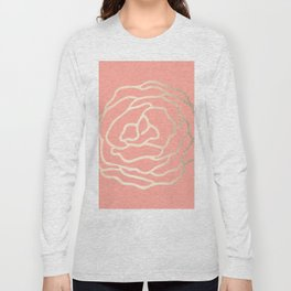 Flower in White Gold Sands on Salmon Pink Long Sleeve T-shirt