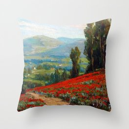 Red Poppies and Eucalyptus by Benjamin Brown Throw Pillow