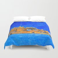 edinburgh Duvet Covers featuring Edinburgh Castle In The Snow On A Winter Night by Mark E Tisdale
