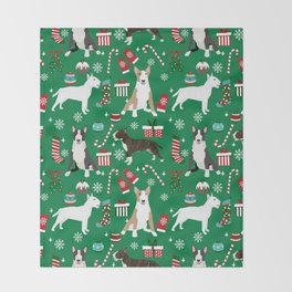 Bull Terrier christmas holiday pet pattern stockings presents dog breed gifts Throw Blanket