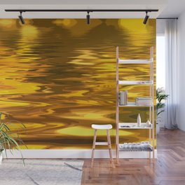 Amazing Abstract Liquid Gold Ripples Wall Mural