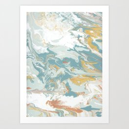 Marble - Grey, Blue, & White Art Print