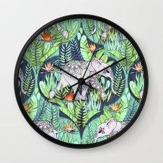 Little Elephant on a Jungle Adventure - faded vintage version Wall Clock