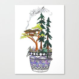 Forest Tree House - Woodland Potted Plant Canvas Print