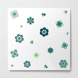 Beach Blue Flowers Metal Print