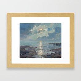 FREDERICK JUDD WAUGH (American, 1861-1940). The Risen Moon Framed Art Print