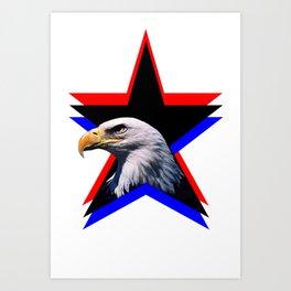 Bald eagle & the three star Art Print