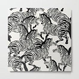 Zebra Stampede in Black + Bone Metal Print