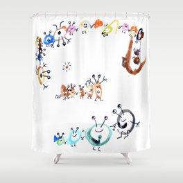 Playful Viruses (drawn by my 2yo son) Shower Curtain
