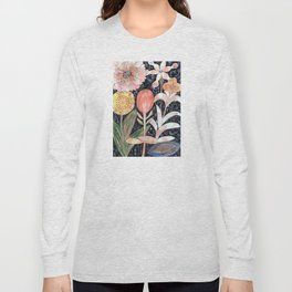Mixed Flowers with Tulip on Black Long Sleeve T-shirt