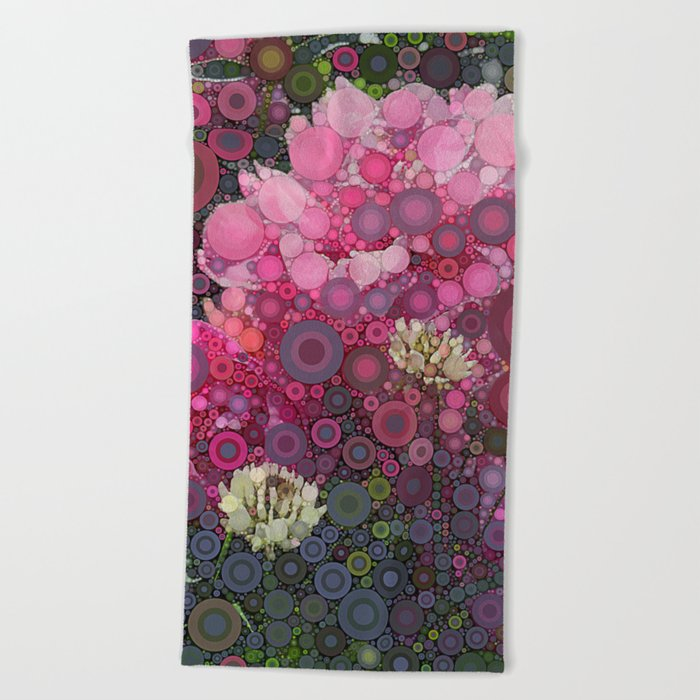 Pink Flowers at Twilight Abstract Beach Towel