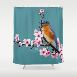 Eastern Bluebird and Cherry Blossom Shower Curtain
