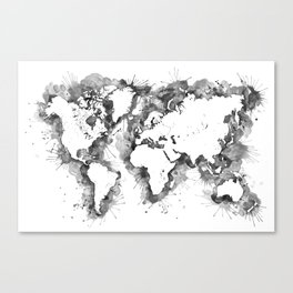 Watercolor splatters world map in grayscale Canvas Print