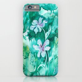 Green encaustic flowers iPhone Case