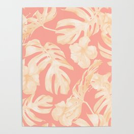 Pretty Pink and Coral Topical Monstera Pattern Poster