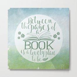 Between the Pages of a Book - Green Spring Metal Print