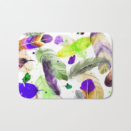 feathers and butterflies Bath Mat