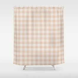 Gingham Pattern - Warm Neutral Shower Curtain