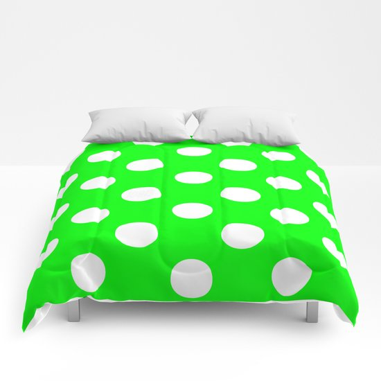 Polka Dots (White/Green) Comforters
