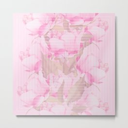 Peonies And Butterflies Illustration In Frame #decor #society6 #homedecor Metal Print