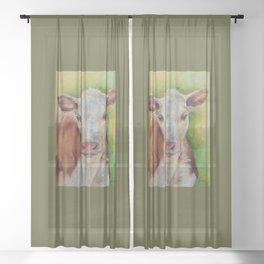CALF Cute farm animal portrait oil painting Sheer Curtain