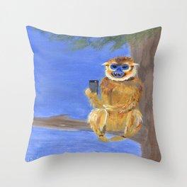 Sammy the Snub Nosed Golden Monkey Throw Pillow