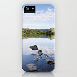 Rocks, reflections and view to Helm Crag. Grasmere, Lake Disctrict, Cumbria, UK iPhone Case