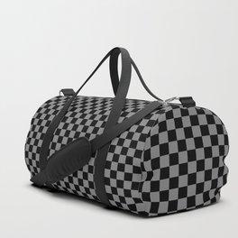 Black and Medium Gray Checkerboard Duffle Bag