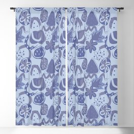 Brushstrokes Abstract - Periwinkle Blue Denim Blueberry Blackout Curtain