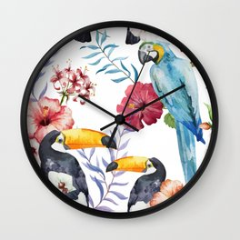 Tropical Bird Pattern 01 Wall Clock