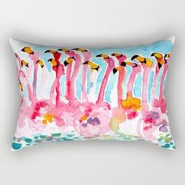 Welcome to Miami - Flamingos Illustration Rectangular Pillow