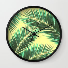 Tropical Palm Leaf Pattern 3 - Tropical Wall Art - Summer Vibes - Modern, Minimal - Green, Beige Wall Clock