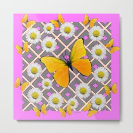 Yellow Butterfly on Lilac-pink Shasta Daisy Grey Pattern Metal Print