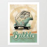 """volkswagen Art Prints featuring Volkswagen """"Bubble"""" by Marcelo Schultz"""