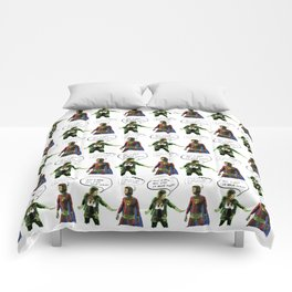 H-MAN MEETS LA MAIN VERTE (Drawing #1 wall paper version) Comforters