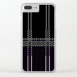 Black White abstract chevron stripes Clear iPhone Case