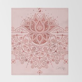 Sacred Lotus Mandala – Rose Gold & Blush Palette Throw Blanket