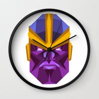 thanos Wall Clocks featuring THANOS by rybbrybson