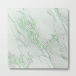 Marble Love Green Metallic Metal Print