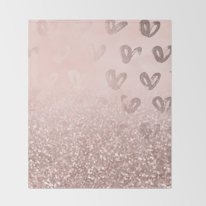 Rose Gold Sparkles on Pretty Blush Pink with Hearts Throw Blanket
