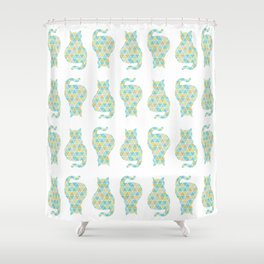 Cat Triangulation Pattern Shower Curtain