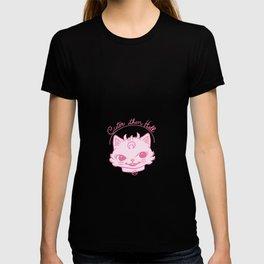 Pink Kitschy Demon Cat T-shirt