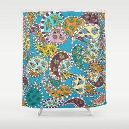 Paisley on Blue Shower Curtain