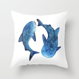 Starry Whale Sharks Throw Pillow